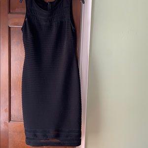 Black bodycon midi dress with sheer collar